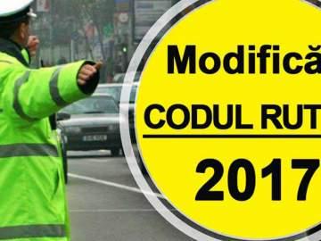 Modificări în CODUL RUTIER 2017