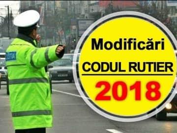 Modificări Codul Rutier 2018