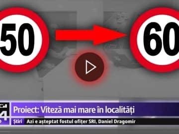 VIDEO - Propunere legislativă de mărire a limitei maxime de viteză în localități de la 50 de km/h la 60 Km/h.