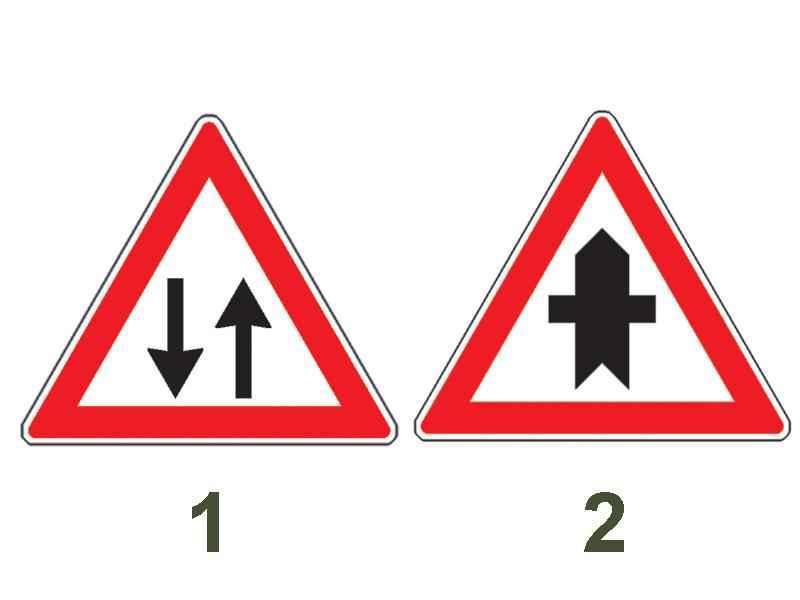 Care dintre cele două indicatoare avertizează conducătorii de motociclete că au prioritate?