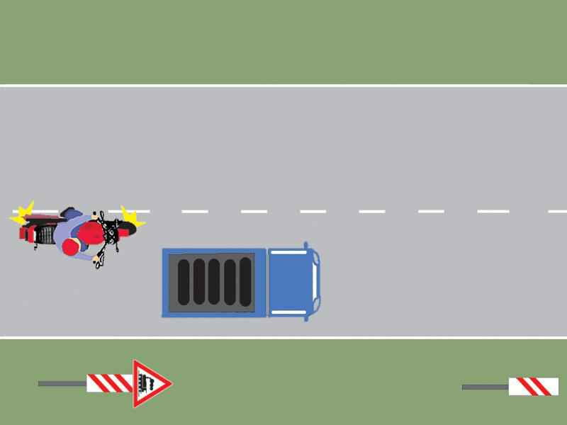 Motociclistul din imaginea alăturată s-a angajat regulamentar în depăşire?