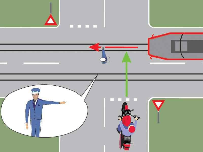 Care dintre cele două vehicule din imagine are dreptul să treacă prin intersecţie?