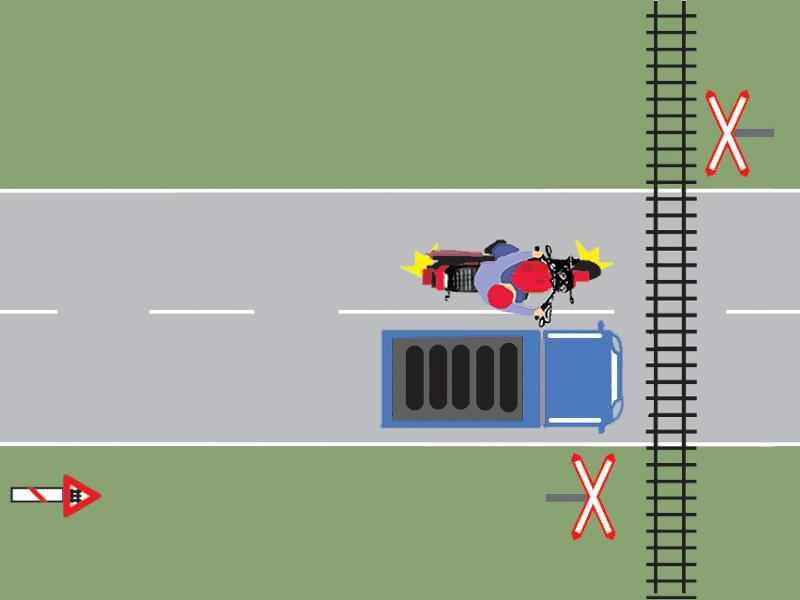Motociclistul din imagine depăşeşte corect autocamionul?