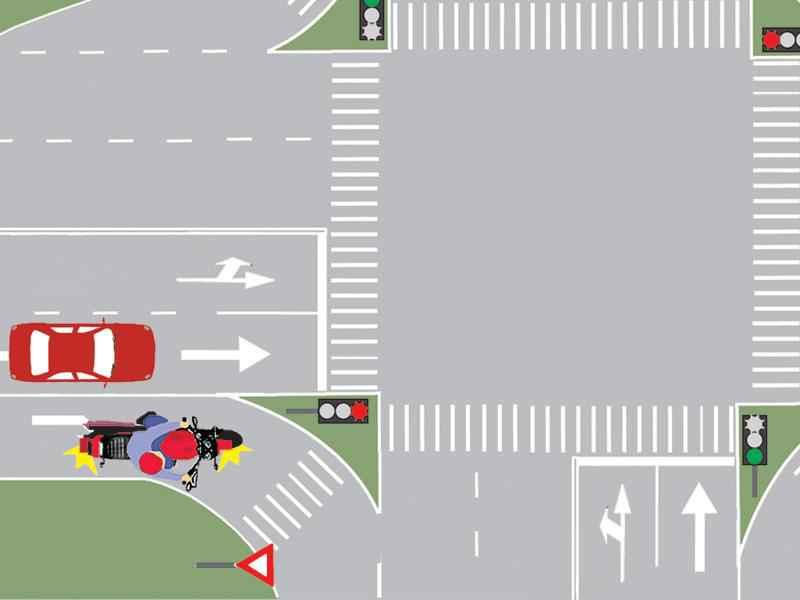 Care dintre autovehicule trebuie să oprească la semnalul roşu?