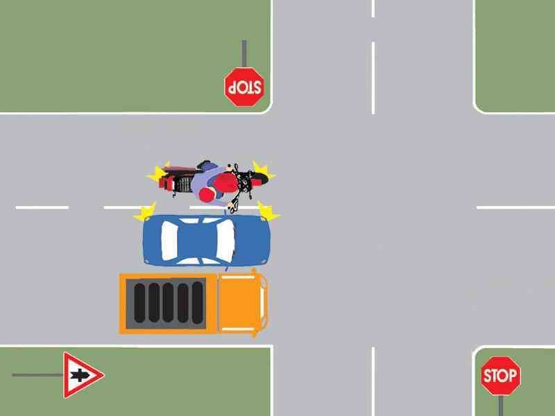 Motociclistul din imagine depăşeşte corect cele două autovehicule?