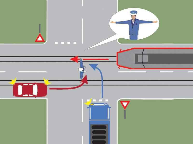 Conducătorul autocamionului poate pătrunde în intersecţie?