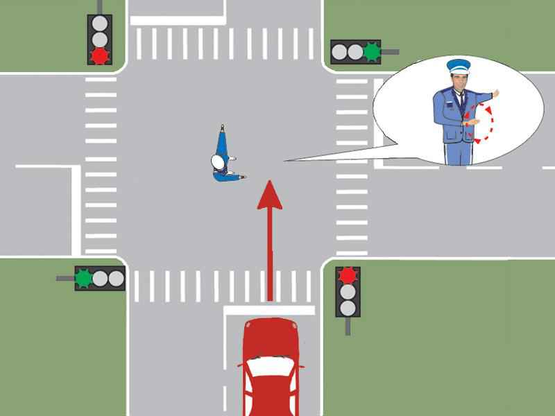 Poliţistul din intersecţie semnalizează conducătorul auto să mărească viteza. Cum trebuie să procedeze acesta?