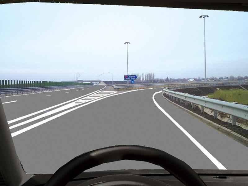 În această situaţie constataţi că părăsiţi autostrada în mod eronat. Cum procedaţi?