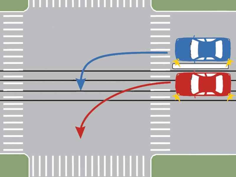 Care dintre autoturisme s-a încadrat corect pentru a schimba direcţia de mers?