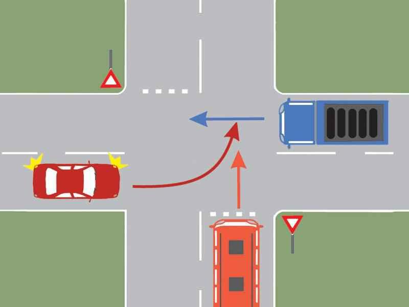 Care autovehicul va trece primul prin intersecţie?