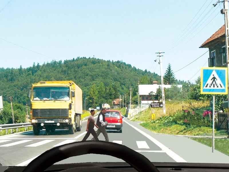 Care dintre vehicule trebuie să acorde prioritate pietonilor?
