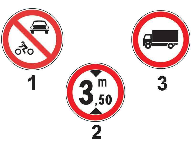 Care dintre indicatoarele alăturate interzice accesul vehiculelor a căror înălțime este mai mare de 3,5 m?