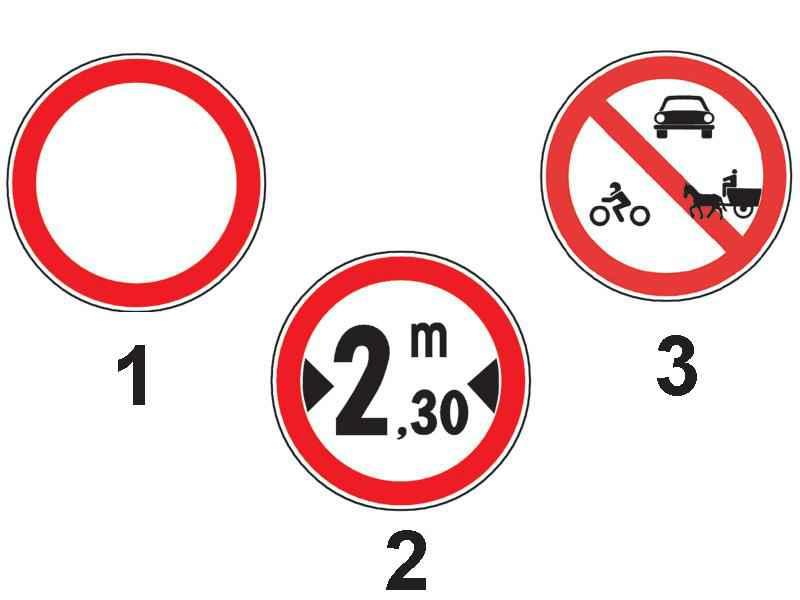 Care dintre indicatoarele alăturate interzice accesul vehiculelor a căror lățime este mai mare de 2,30 m?
