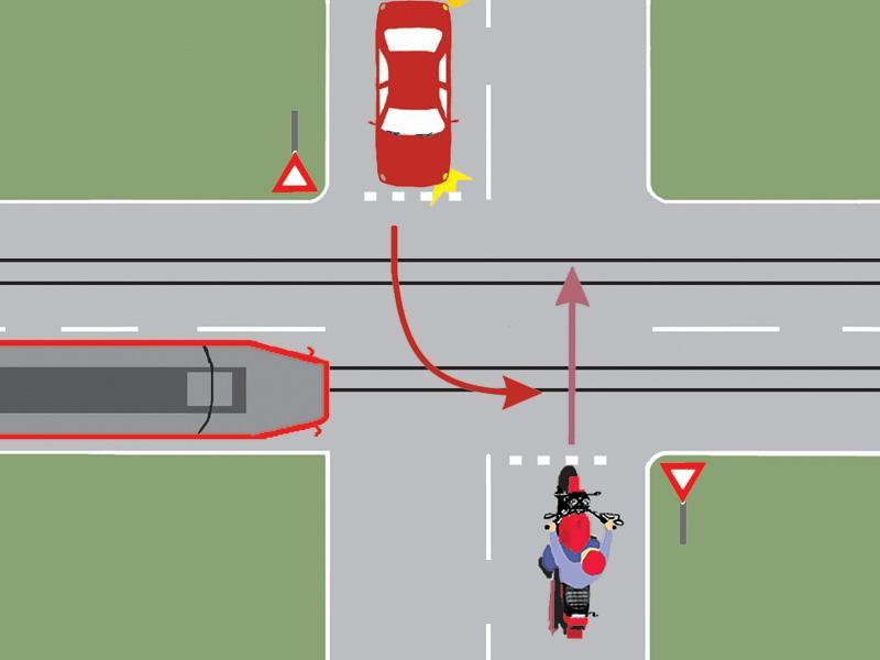 Care dintre cele trei vehicule va trece ultimul prin intersecție?