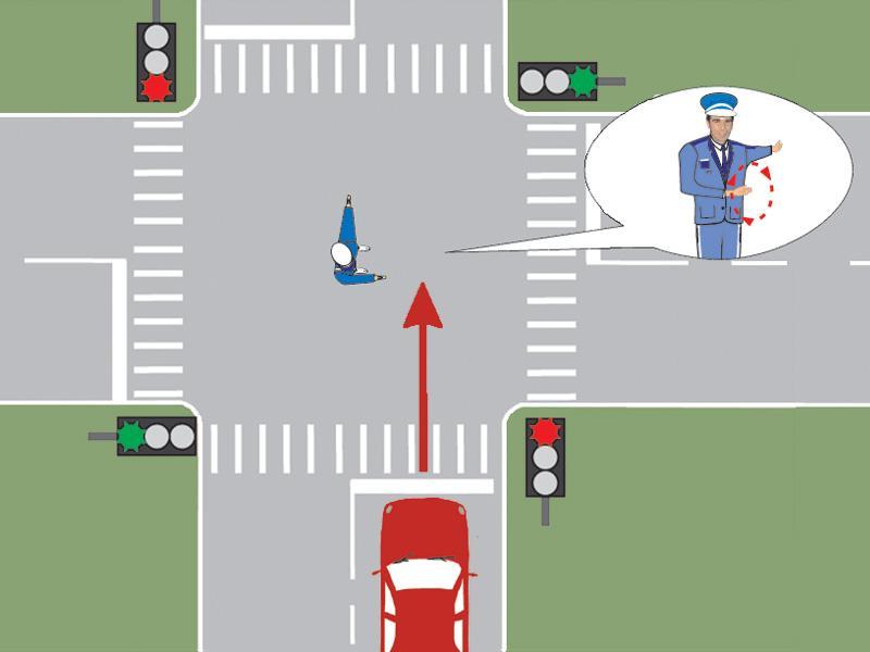Polițistul din intersecție semnalizează conducătorul auto să mărească viteza. Cum trebuie să procedeze acesta?