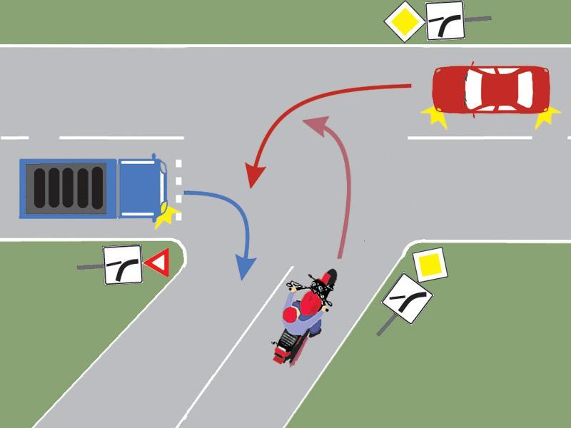 Care dintre vehiculele din imagine va intra primul în intersecție?