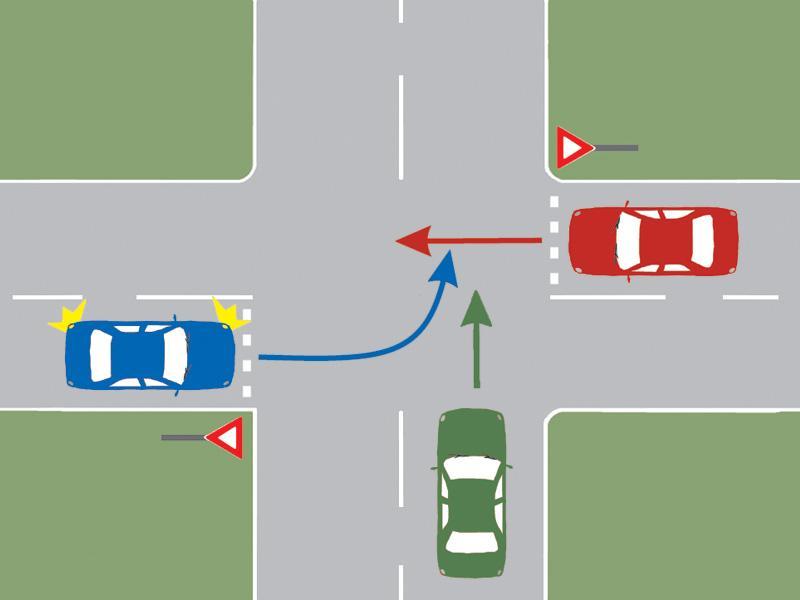 În ce ordine vor trece autovehiculele prin intersecția prezentată?