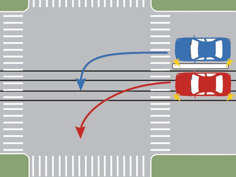 Care dintre autoturisme s-a încadrat corect pentru a schimba direcția de mers?