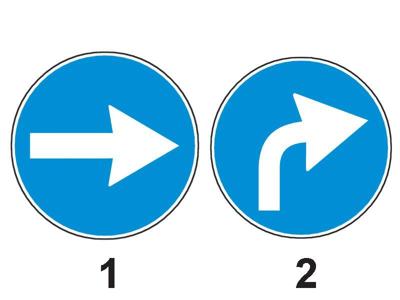 Care dintre cele două indicatoare obligă la schimbarea direcției de mers spre dreapta, după depășirea locului unde este instalat?