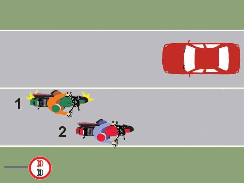 Motociclistul 1 din imaginea alăturată execută corect depăşirea?