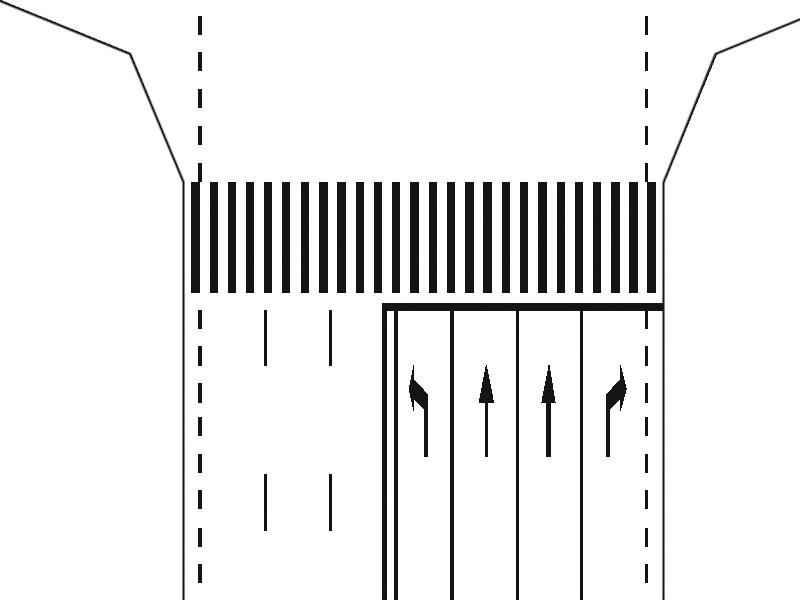Pe ce bandă de circulaţie vă încadraţi pentru a vira la stânga, într-o intersecţie semnalizată cu astfel de marcaje?