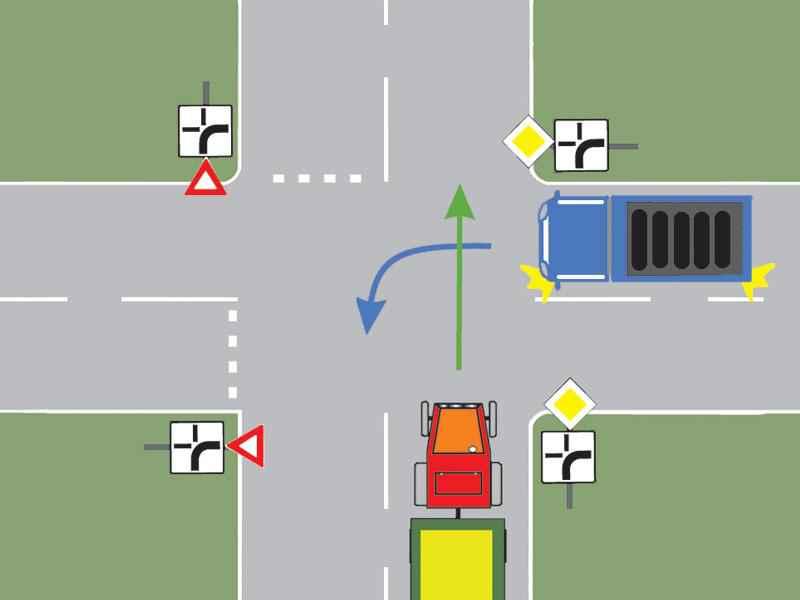 Ce autovehicul din imagine trebuie să cedeze trecerea?