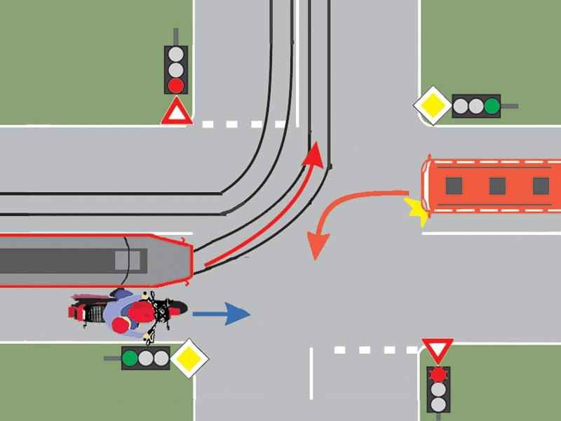 Conducătorul autobuzului din imagine trebuie să acorde prioritate de trecere: