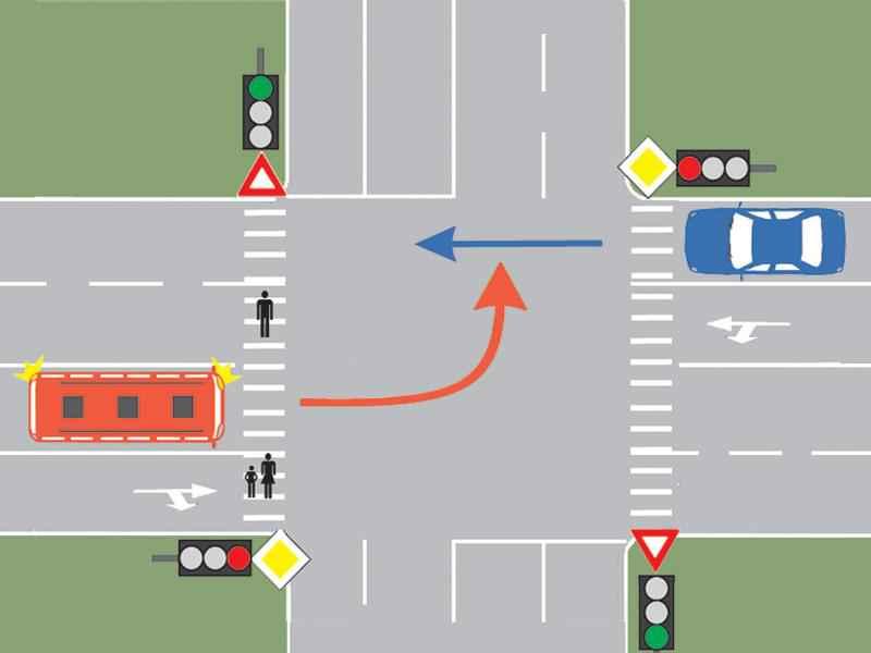 Cum trebuie să procedeze conducătorul autobuzului din imagine, dacă intenţionează să schimbe direcţia de mers spre stânga?